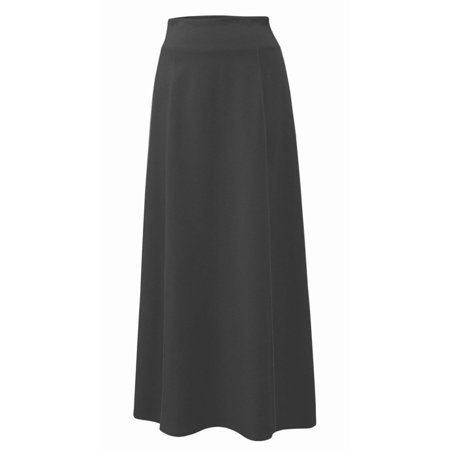 Baby'O Women's Stretch Cotton Knit Panel Maxi A-Line Skirt