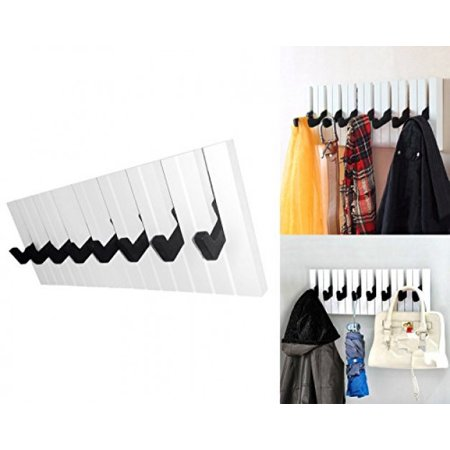 Decor Hut Piano 8 Hook Rack, Great for coats, jackets, towel, briefcase, pocketbooks, shopping bags and keys. Organize your home with this musical keyboard coat (Hut 8 Clothing Store)