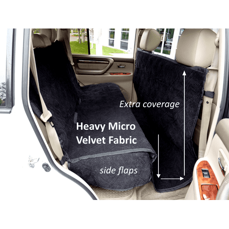 Covered Living Micro Velvet Quilted and Padded Dog Car Back Seat Cover with Comfort Fabric Non-Slip Back Best for Car Truck and SUV - Travel With Your Pet Mess Free - Universal Fit,