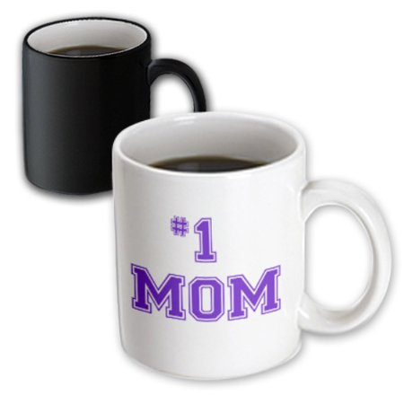 3dRose #1 Mom - Number One Mom in purple text - for worlds greatest and best Mothers day, Magic Transforming Mug, 11oz - Worlds Best Mom