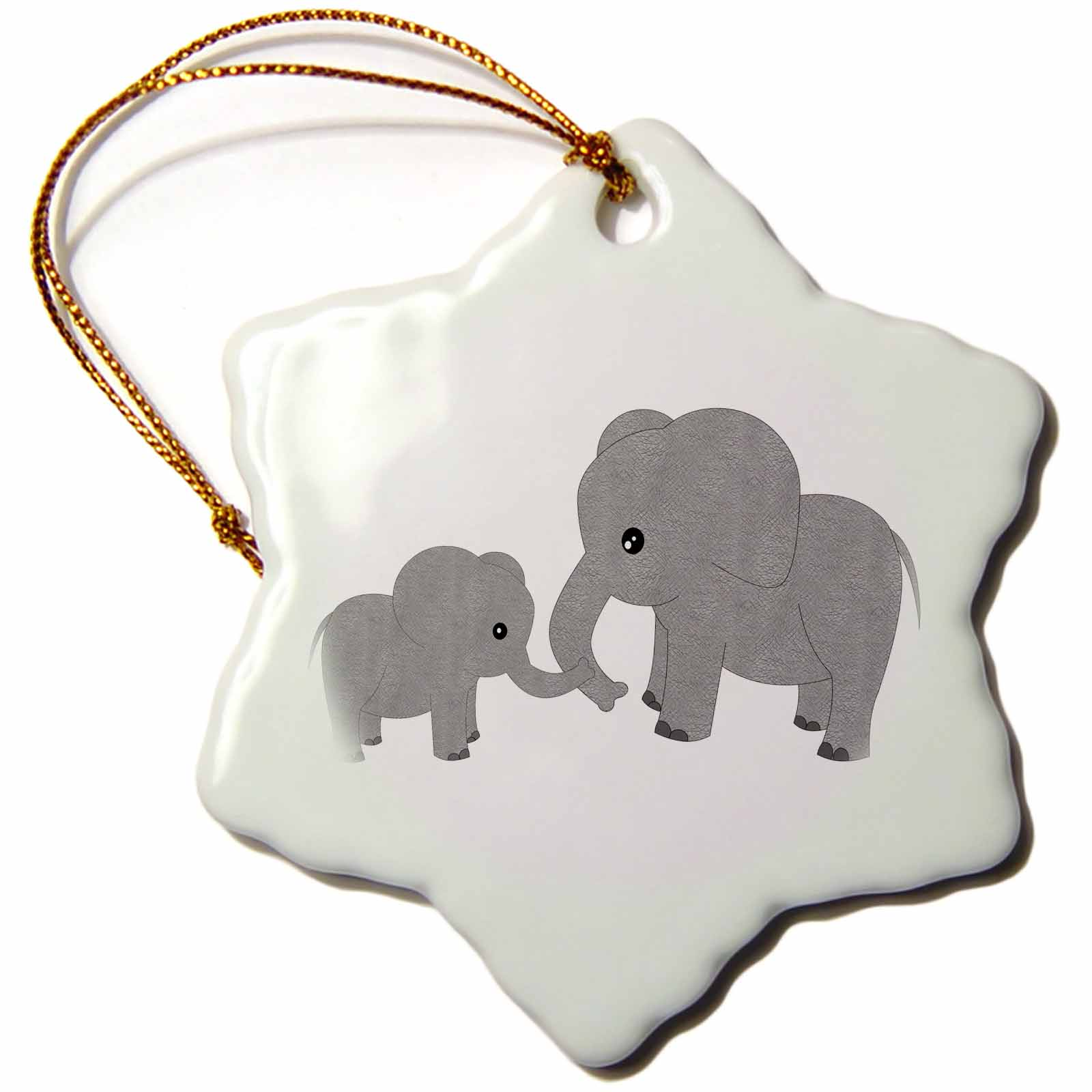 3dRose Mom and Baby Elephant, Snowflake Ornament, Porcelain, 3-inch