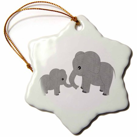 3dRose Mom and Baby Elephant, Snowflake Ornament, Porcelain, 3-inch ()