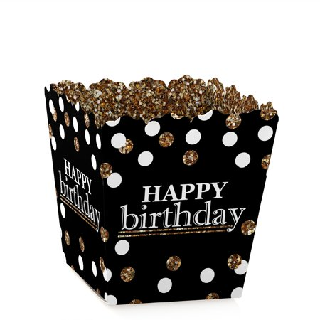 Happy Birthday Treat Bags - Adult Happy Birthday - Gold - Party Mini Favor Boxes - Birthday Party Treat Candy Boxes - Set of 12