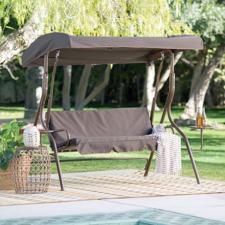 Coral Coast Lakewood 2 Person Adjustable Tilt Canopy Metal Swing with Side Tables String Swing Metal