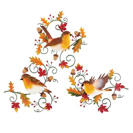 Robins and Fall Leaves Metal Wall Art Set, Indoor Décor, 3 Pc