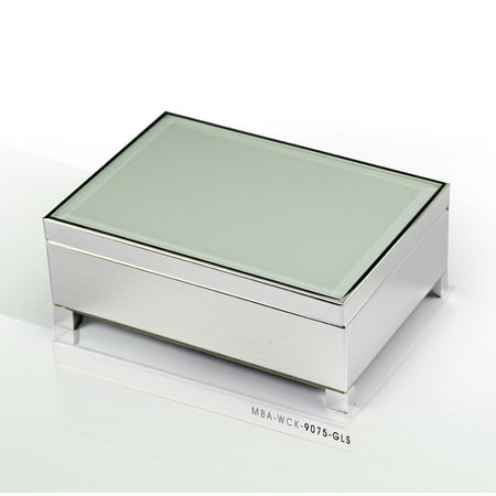 Contemporary 18 Note White Spray Glass with Silver Finish Base Musical Jewelry Box - 12 Days of Christmas ()