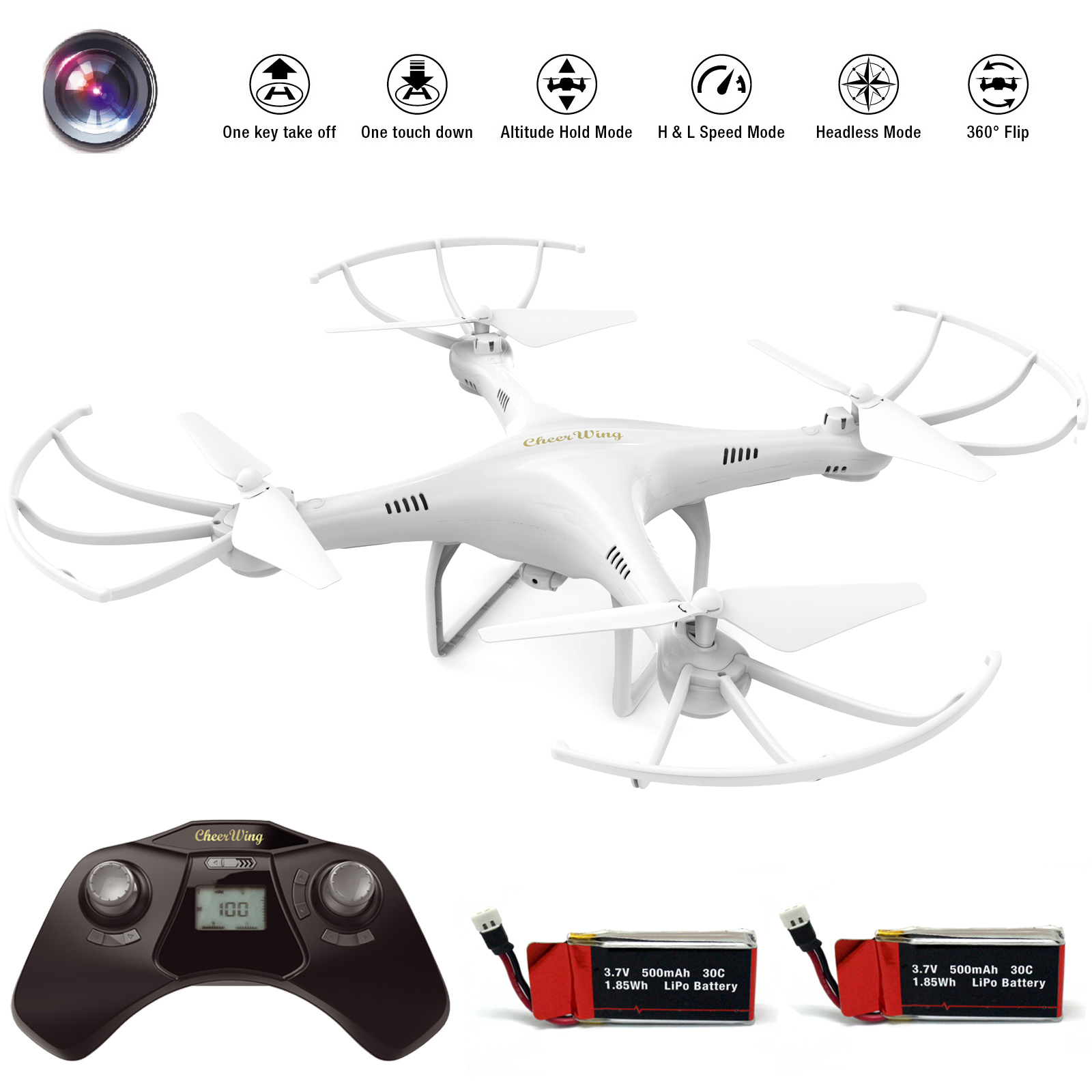 Cheerwing CW4 2.4Ghz 4CH RC Quadcopter Drone with 720P HD Camera, Headless and Altitude... by Cheerwing