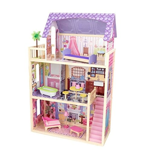 kidkraft kayla dollhouse with 10 pieces of furniture - walmart