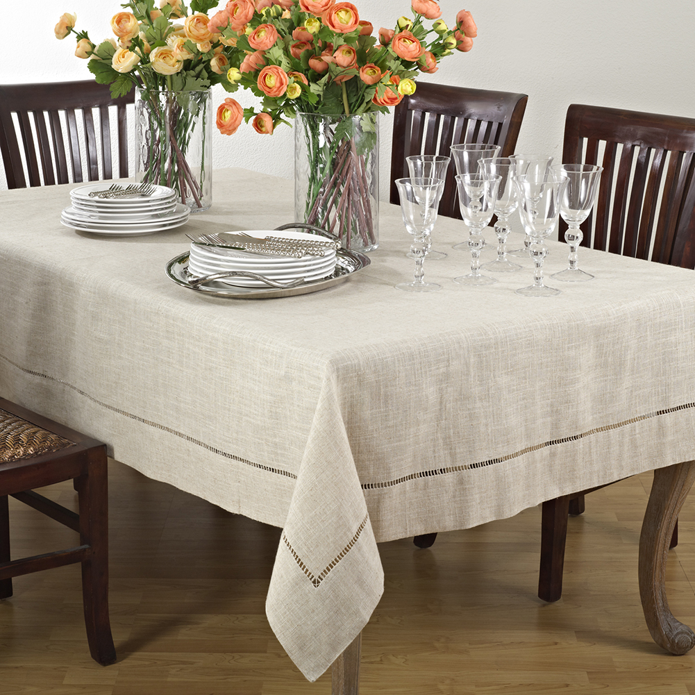 Natural Beige, Classic Tuscany Hemtitch Design Rectangular Tablecloth, 65 Inch x 104 Inch
