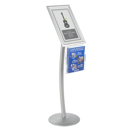 - Displays2go CMB17NGW Floor Sign Stand with Literature Pocket, Snap Frame for 11x17-Inch Poster, Silver