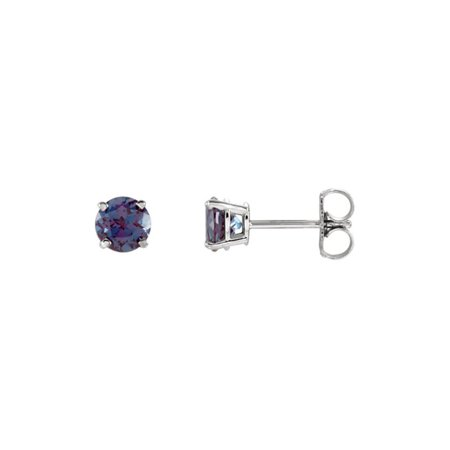 14k White Gold 5 Mm Round Natural Alexandrite Stud Earrings