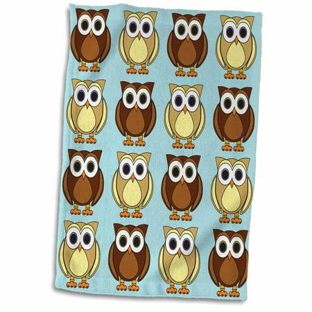 3dRose Cute Brown Owl Print Blue - Towel, 15 by 22-inch