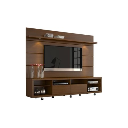 cabrini tv stand and floating wall tv panel with led lights 2 2 in nut brown. Black Bedroom Furniture Sets. Home Design Ideas