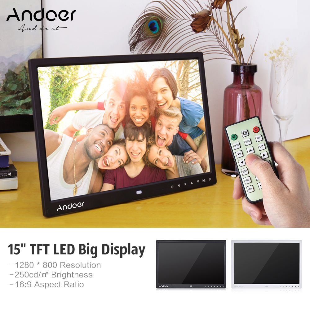 15 inch Digital Photo Frame HD LED Picture Videos Frame,MP3//Calendar//Clock//E-book