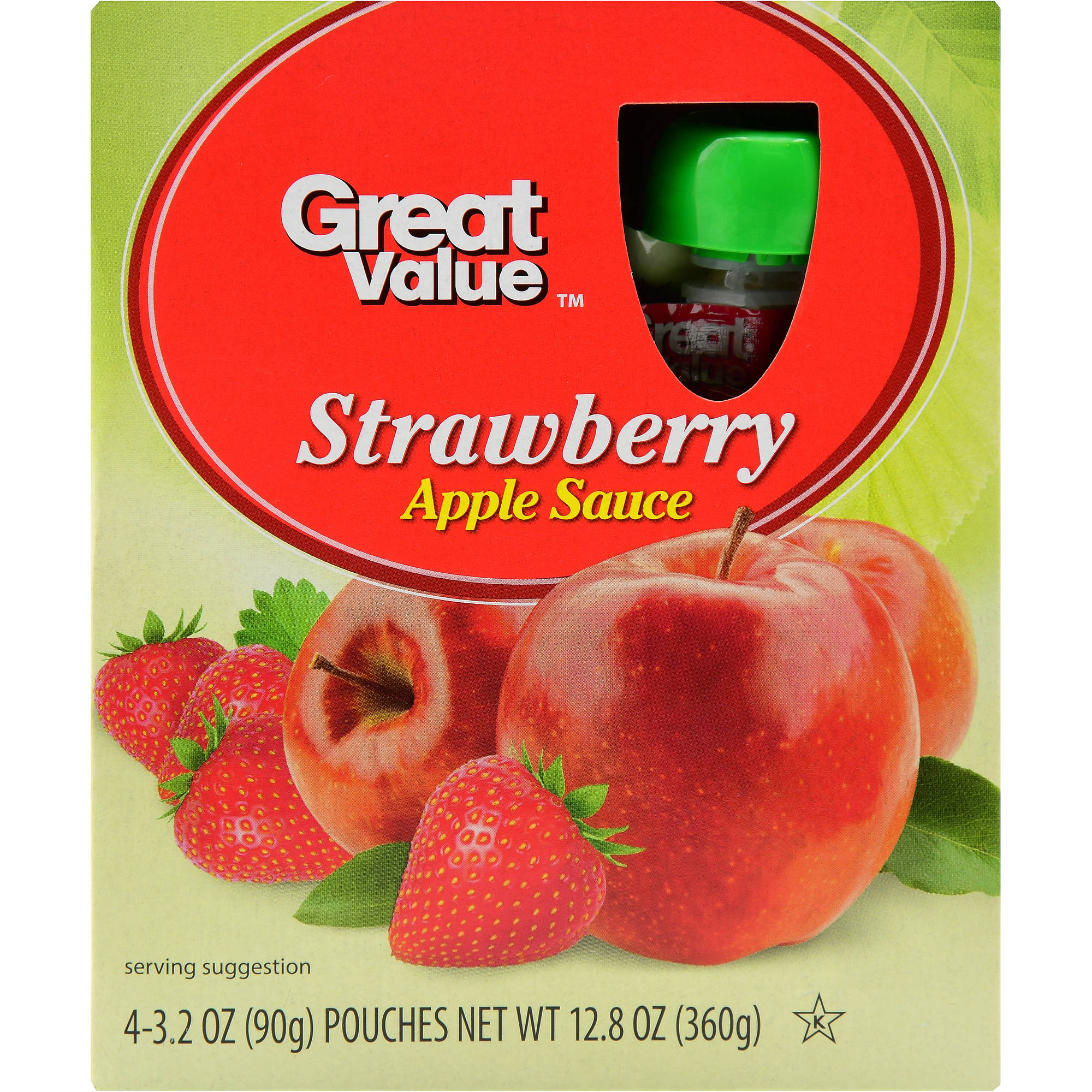 (4 Pack) Great Value Applesauce Pouches, Strawberry, 4 Count