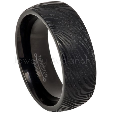 Black IP Dome Tungsten Ring, Comfort Fit Tungsten Wedding Band, Zebra Carved Pattern Ring