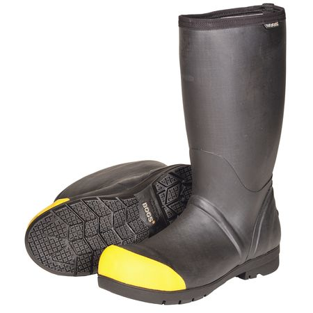 Bogs Size 9 Steel Toe Mid Calf Boots, Men's, Black, 71339-001 9