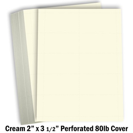 Hamilco Blank Business Cards Cardstock Paper - Cream Perforated Card Stock 80 lb 3 1/2 x 2