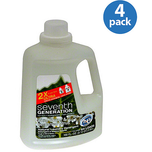 Seventh Generation White Flower & Bergamot Citrus Natural Liquid Laundry Detergent, 100 fl oz, (Pack of 4)