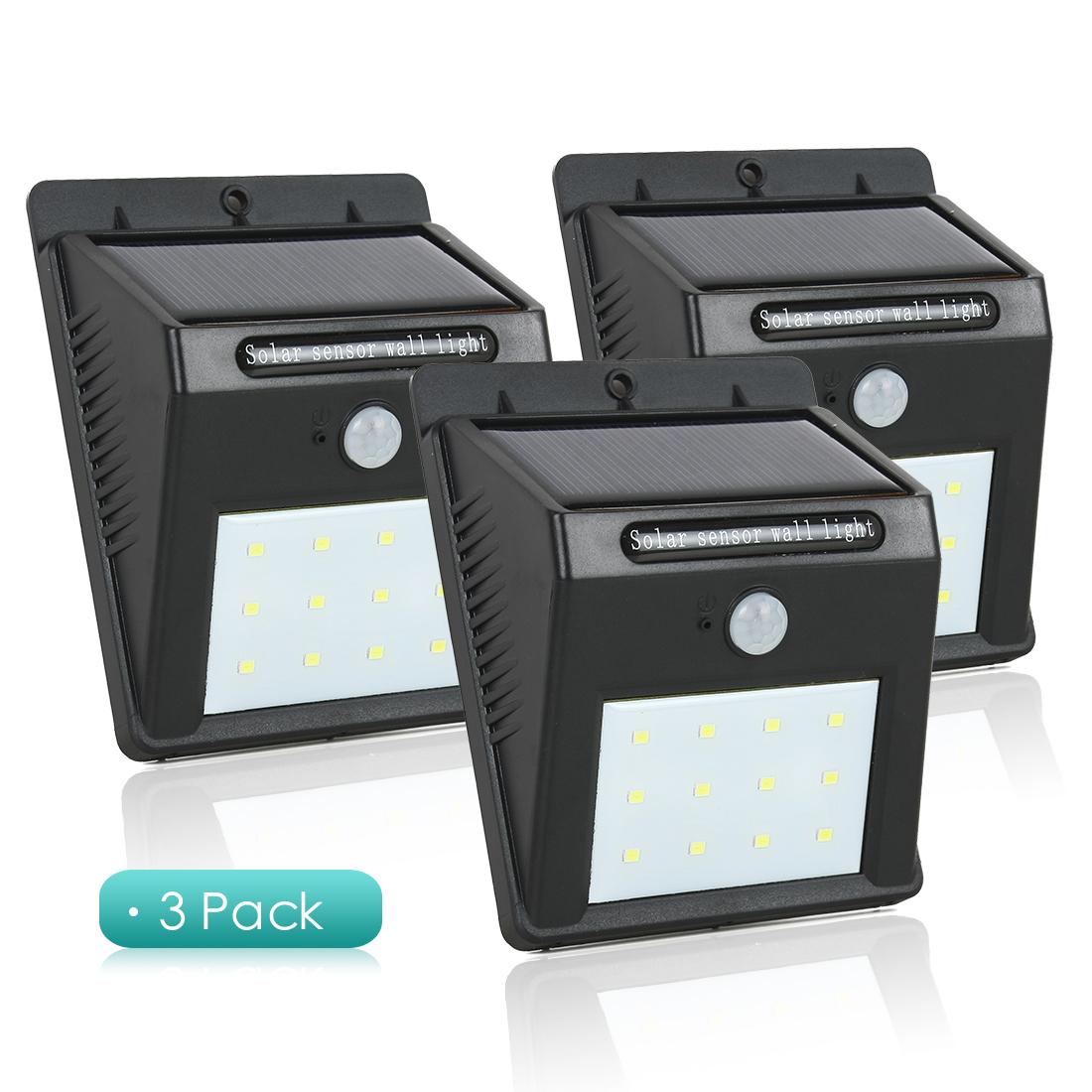 3pcs LED Solar Light PIR CDS Motion Sensor Lamp 12 LEDs 80lm Waterproof Wireless