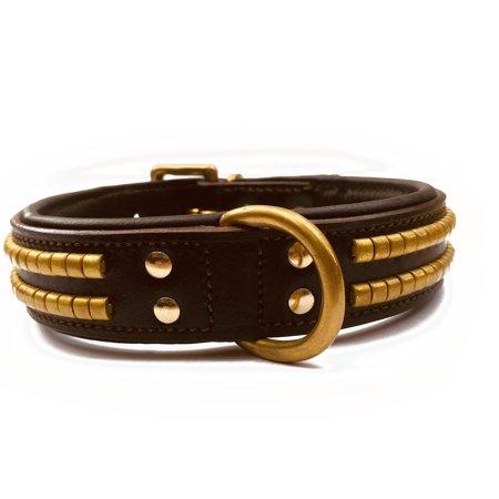 - Doggone Collars Player Luxury Bridle & Napa Leather Oxidized Brass Studs Dog Collar (20