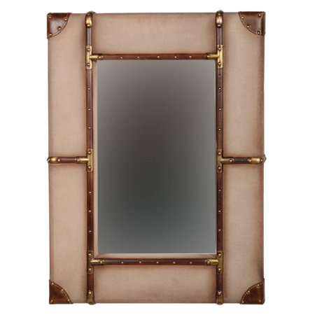 - Linon Canvas Wrapped Aluminum Frame Wall Mirror, Beige, Multiple Sizes