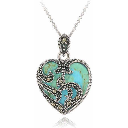 Marcasite and Turquoise Sterling Silver Heart Pendant