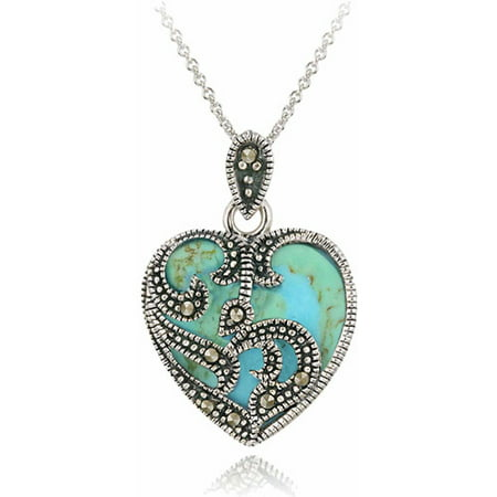 Marcasite And Turquoise Sterling Silver Heart Pendant Necklace, (Marcasite Heart)