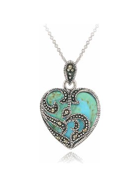 Marcasite And Turquoise Sterling Silver Heart Pendant Necklace, 18""
