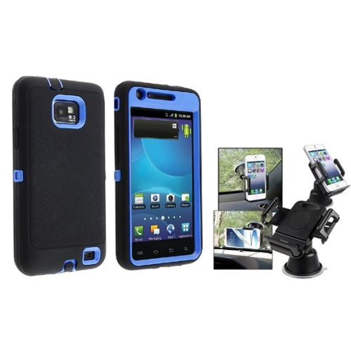 Insten Blue/Black Hybrid Case For Samsung Galaxy i777 S II (Galaxy S2 i777 AT&T ONLY) (with Universal Car Phone Holder)