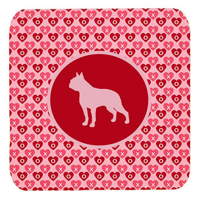 Boston Terrier Valentine Hearts Foam Coasters - Set 4, 3.5 x 3.5 In. - image 1 de 1