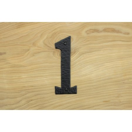 """Decorative 6"""" Rustic House or Mail Box Numbers Hammered Iron Black Finish Hand Forged Borderland Rustic Hardware"""