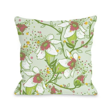 Lovelilies - Green Multi 18x18 Pillow by (Love Lilies)