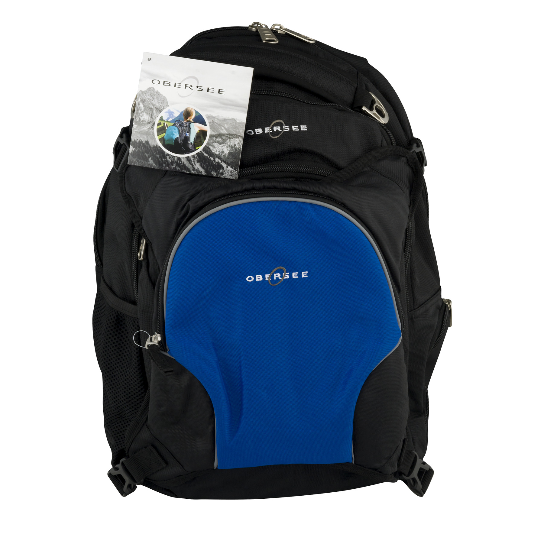 Obersee Oslo Diaper Bag Backpack and Cooler, Black/Royal Blue