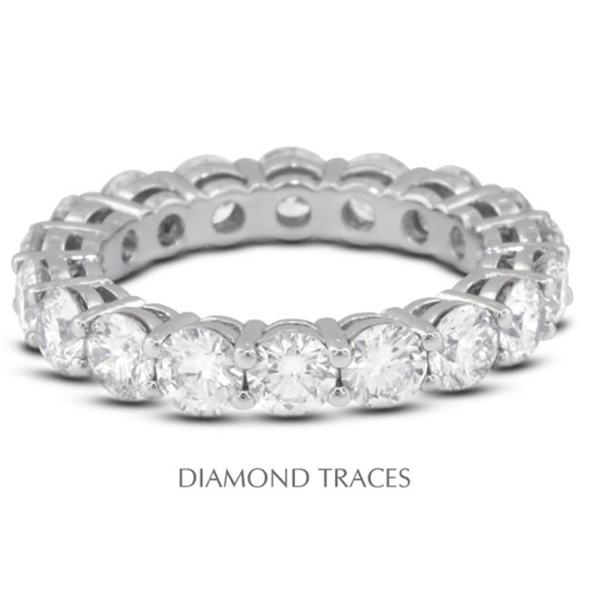 18K White Gold 4-Prong Setting 1.69 Carat Total Natural Diamonds Basket Eternity Ring