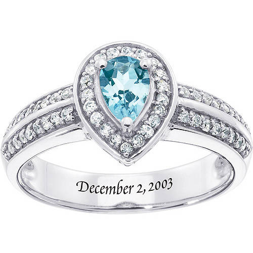 Personalized Keepsake Pear-Drop Gemstone Ring