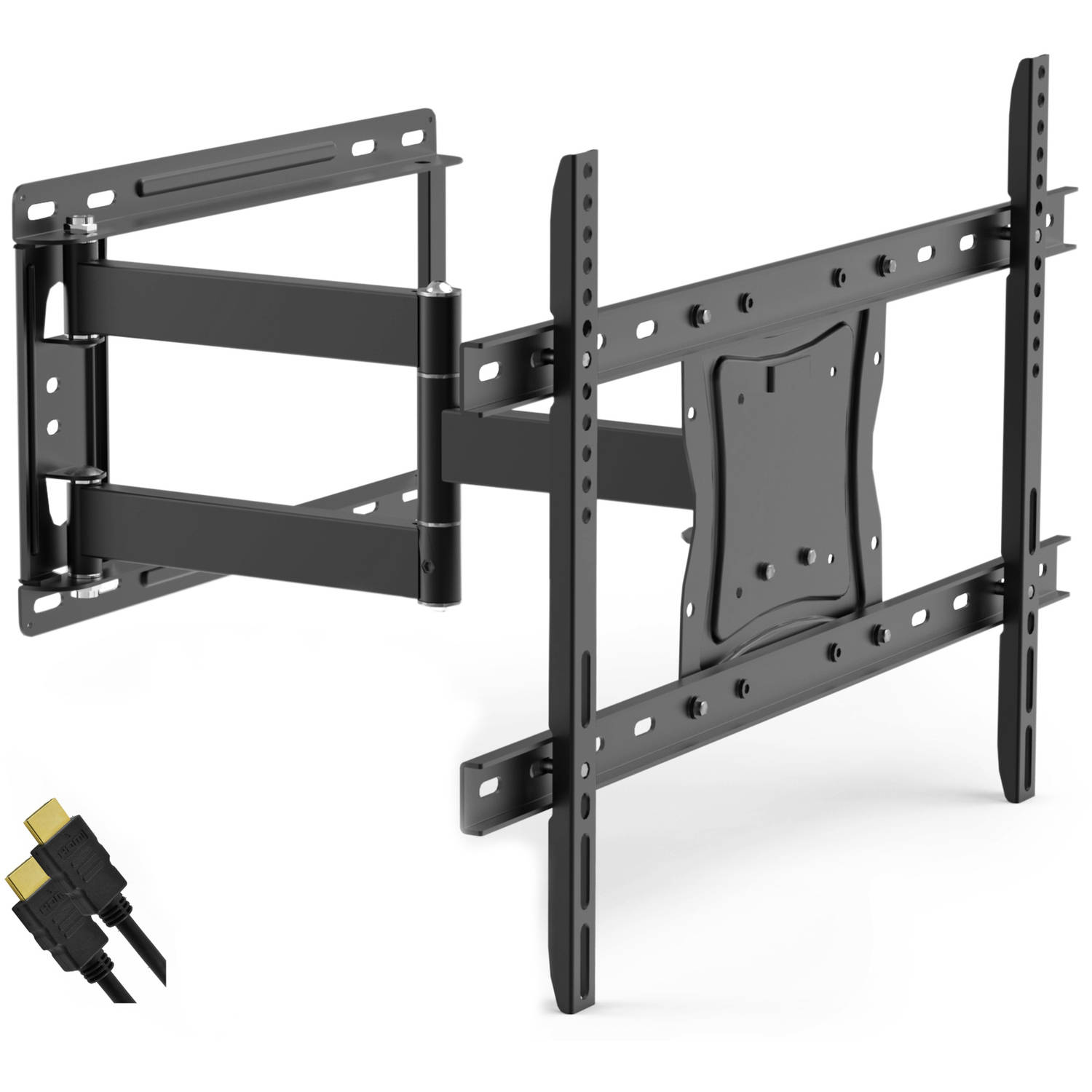 "Full Motion TV Wall Mount for 19""-84"" TVs with Tilt and Swivel Articulating Arm and HDMI Cable, UL Certified"