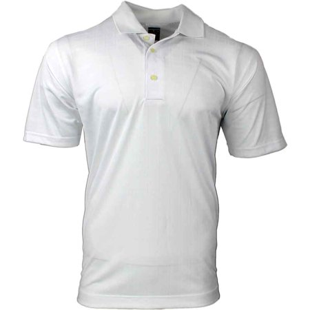- Page & Tuttle Mens Box Texture Jacquard Jersey  Golf Casual  Polo - White L