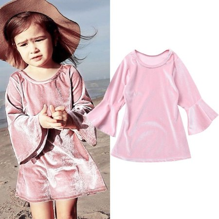 Girls Kids Long Sleeve Lace Dress One-piece Pleuche Skirt Clothing Sundress Fit For 1-5T