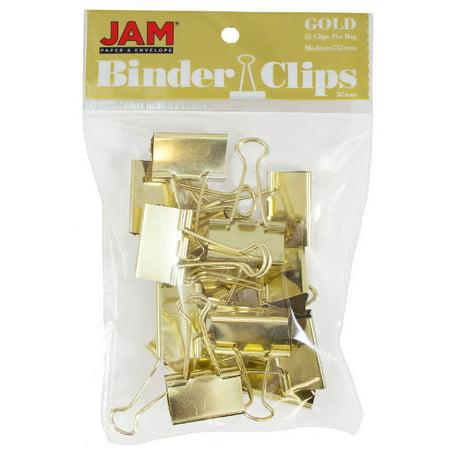 JAM Paper Binder Clips, Medium, 32mm, Gold Binderclips, 15/pack