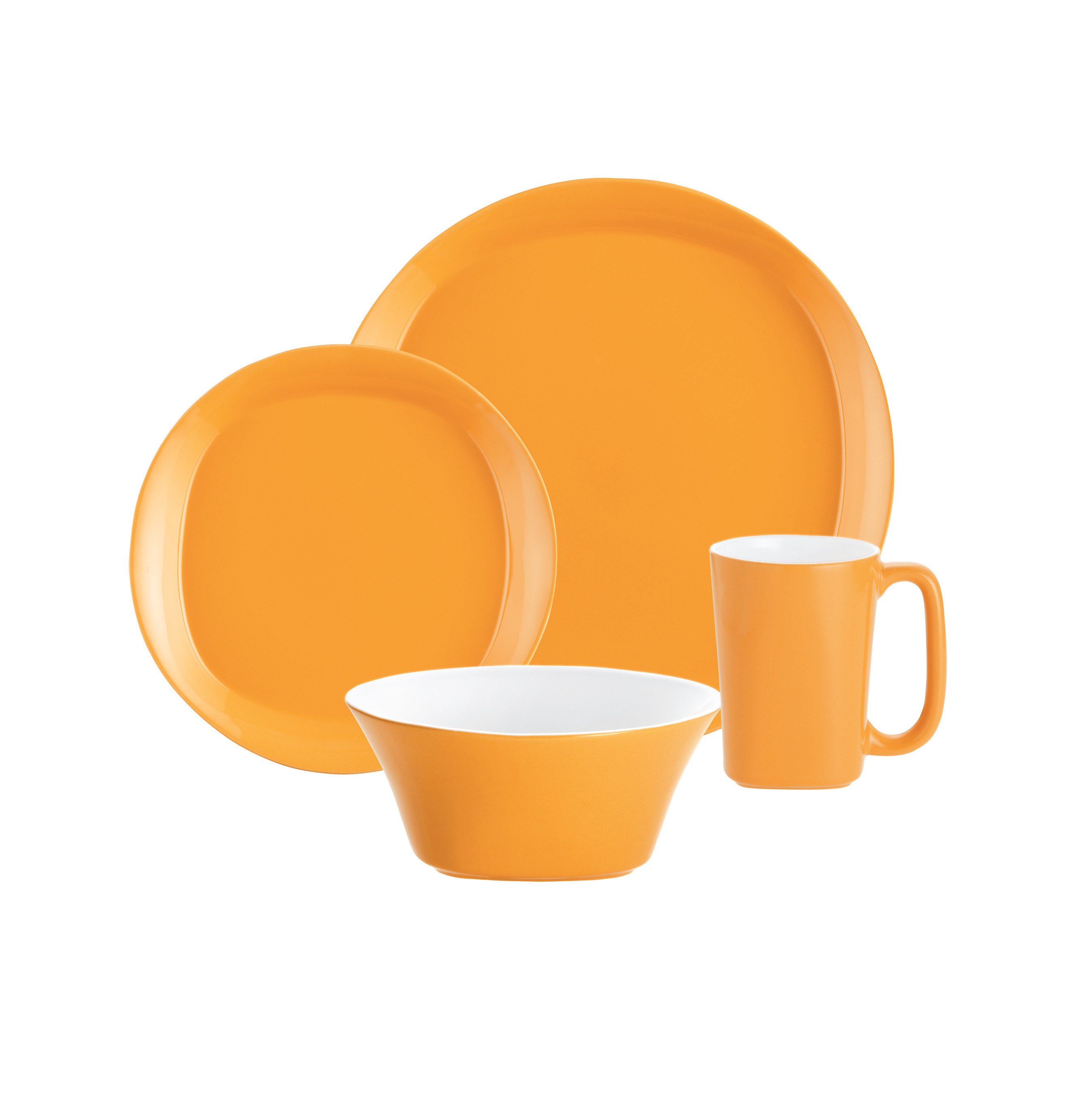 Meyer Corporation Rachael Ray Dinnerware Round and Square 4 - Piece Stoneware Dinnerware Set, Yellow