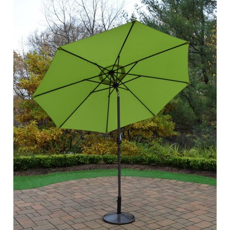 Oakland Living Corporation Oasis Green 9-foot Umbrella with Crank and Tilt System and Cast Iron Stand