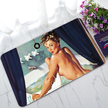GCKG Sexy Vintage Retro Pin Up Girl Lady Non-Slip Doormat Indoor/Outdoor/Bathroom Doormat 30 x 18 - May Girl