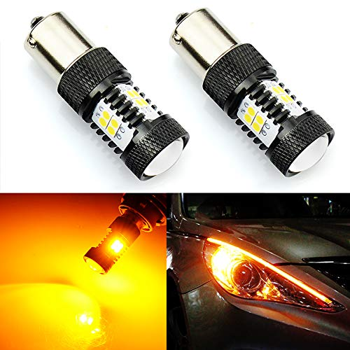 JDM ASTAR Extremely Bright 3000 Lumens High Power 7507 BAU15S LED Bulbs with Projector,Amber Yellow