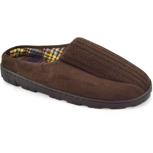 MUK LUKS Men's Ribbed Scuff Slipper with Berber Lining
