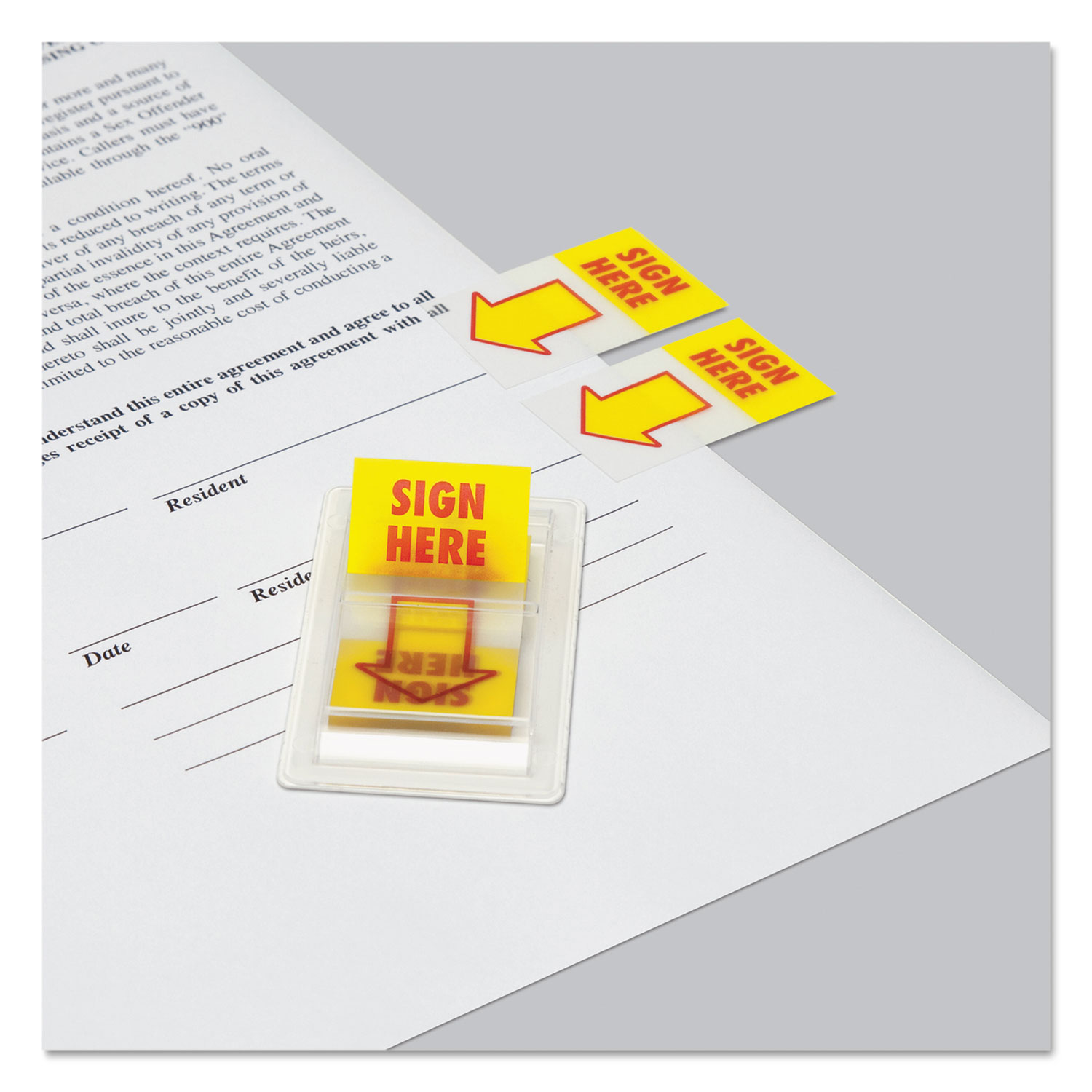 "Arrow Page Flags, ""Sign Here"", Yellow/Red, 2 Dispensers of 50 Flags/Pack"