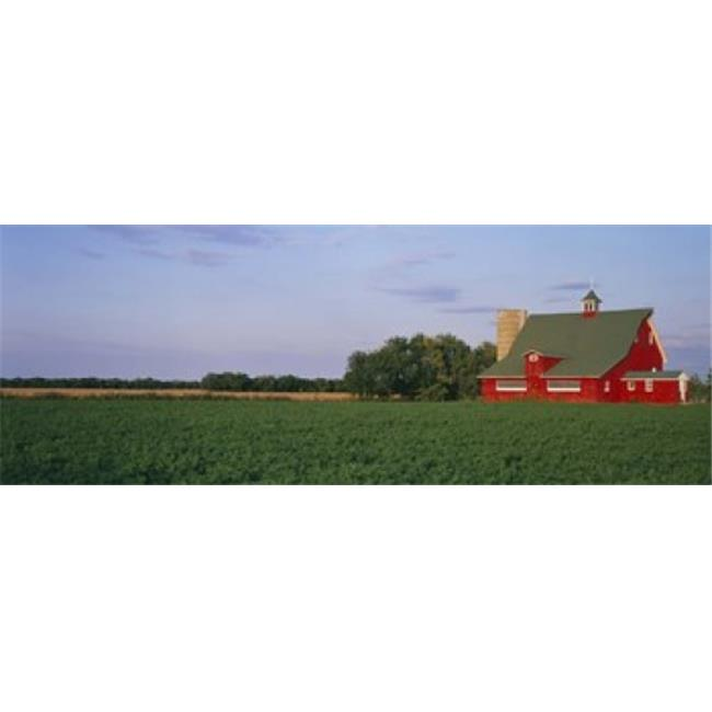 Panoramic Images PPI39694L Red Barn Kankakee IL USA Poster Print by Panoramic Images - 36 x 12