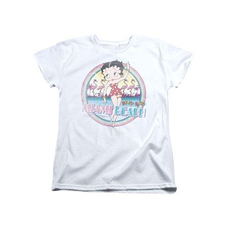 Betty Boop Cartoon Miami Beach Women's T-Shirt Tee - Gay Halloween Miami Beach