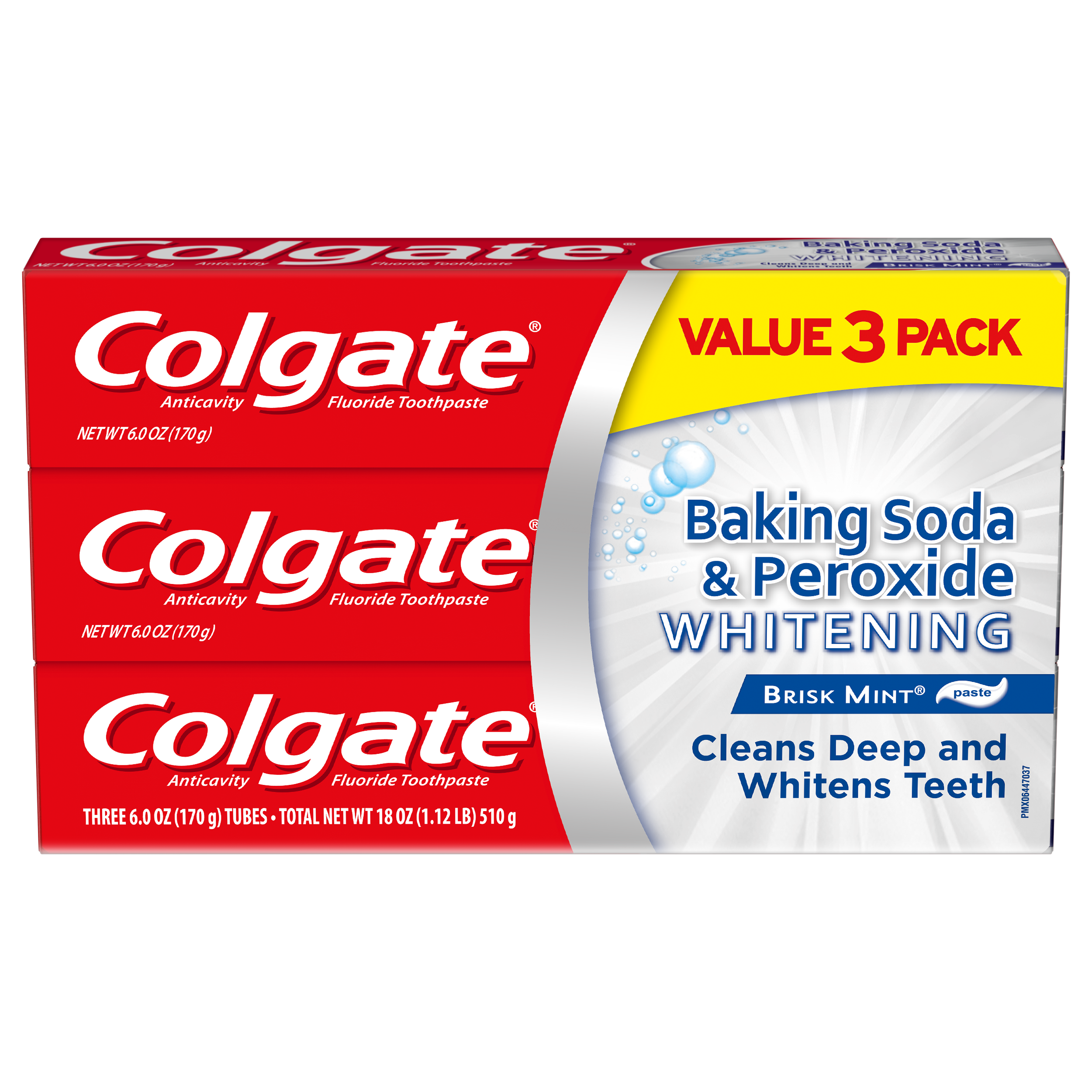 Colgate Baking Soda and Peroxide Whitening Toothpaste, Brisk Mint - 6 Ounce, 3 Pack