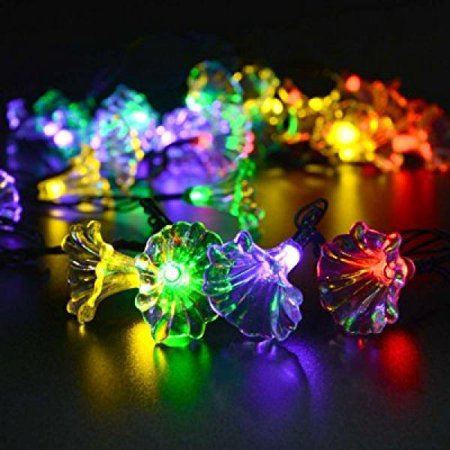 cara solar powered led christmas lights 30 led morning glory string lights gardens party decoration yellow